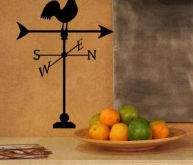 Weather Vane with Rooster Vinyl Wall Decal 22152