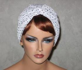 Handmade Twist Fashion Turban -White and Black Mini Dots