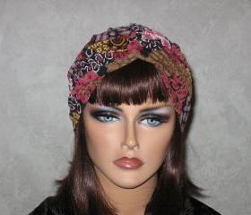 Handmade Twist Fashion Turban -Mauve Pink, and Maroon Multicolored Collage