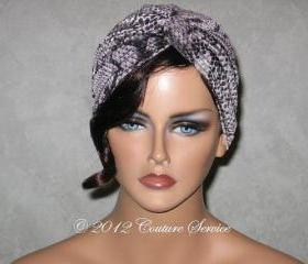 Handmade Twist Fashion Turban -Grey, Black, Snakeskin Animal Print