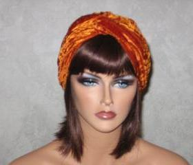 Handmade Twist Fashion Turban -Burnt Orange Velour
