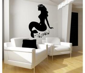 Mermaid with Flowers and Beads Vinyl Wall Graphic 22124