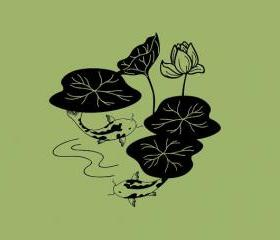 Koi and Lilies Vinyl Wall Decal 22070