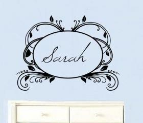 Custom Personalized Elegant Vintage Frame Vinyl Wall Decal Script 2 Hollow 22180