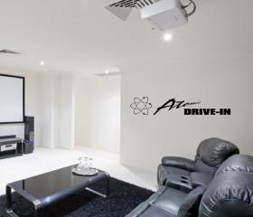 Vinyl Wall Decal Atomic Drive In Home Theater Wall Lettering Decal 22136