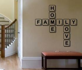 Wall Decal Family Home Love Scrabble Tiles Vinyl Graphic 22109