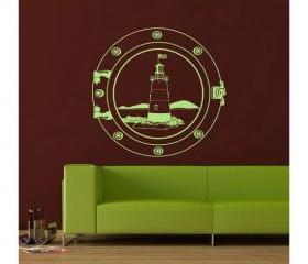 Nautical Wall Decal Lighthouse in a Porthole 22095