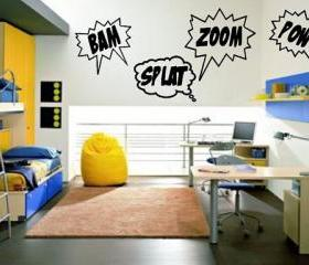 Wall Decal Bam Zoom Pow Splat Set of Four Comics Super Hero Childrens Room Vinyl Wall Decals 22188