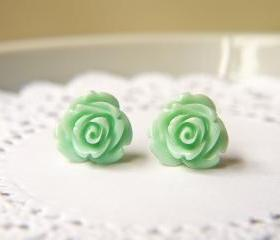 Mint Cream Rose Earrings. Titanium Posts. Romantic Pastel Shade