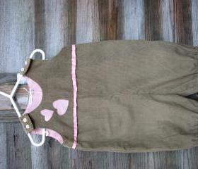 Baby girls pink and brown/beige cord romper