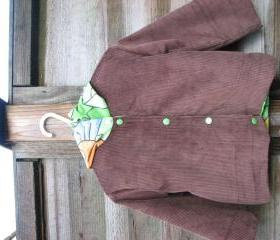 Boys brown cord dinosaur jacket