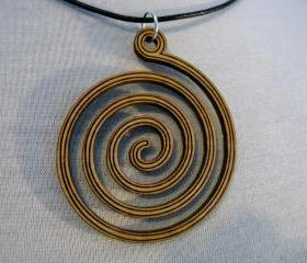 wooden spiral necklace - laser cut from plywood
