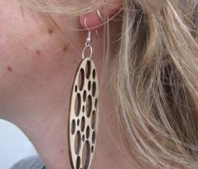 laser cut wooden earrings - Rain drops
