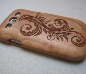 Samsung Galaxy S3 case - wooden cases walnut / cherry or bamboo - Flower
