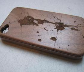 Iphone 4 case - wooden cases bamboo, cherry and walnut wood - Paint splash