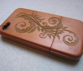 Iphone 4 case - wooden cases bamboo, cherry and walnut wood - Flower