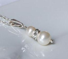Pearl Pendant - Bridesmaid Jewellery with Rhinestone Crystals - Wedding Jewelry for Brides or bridesmaids