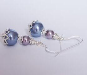 Purple Bridesmaids Earrings - Vintage Inspired Lavender and Lilac Pearl Earrings