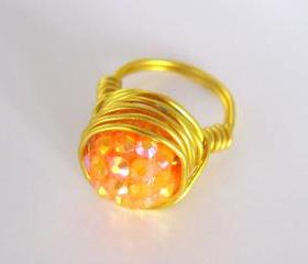 Orange Candy Cocktail Ring, Custom rings, Custom Jewellery, Women and Teens