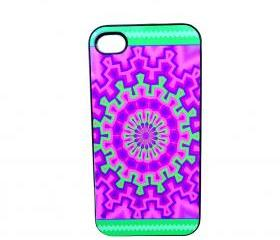 iPhone Accessory Case Models 4/4S Purple and Lime Design Black Plastic Case