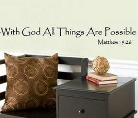With God All Things Are Possible Matthew19 26 Vinyl Decal 22063