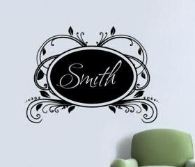 Custom Personalized Elegant Vintage Frame Vinyl Wall Decal Family Name Script Solid 22181