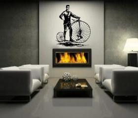 Wall Decal Bicycle Antique Vintage Style Bicycle and Man Large Vinyl Wall Decal 44&quot;W x 51.5&quot;H 22087