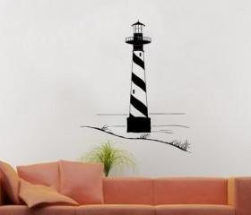 Wall Decal Lighthouse with Sand Dunes Vinyl Wall Decal 22099