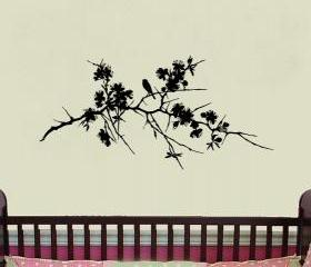 Wall Decal Tree Branch with Flowers and Bird Vinyl Wall Decal 22168