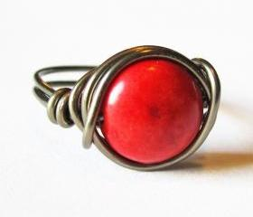 Red Magnesite Gemstone Ring, Wire Wrapped Jewelry
