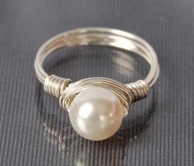 Wire Wrapped Sterling Silver Ring with White Swarovski Pearl- Custom Made to Size