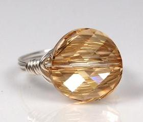 Wire Wrapped Sterling Silver Ring with Golden Swarovski Crystal- Custom Made to Size