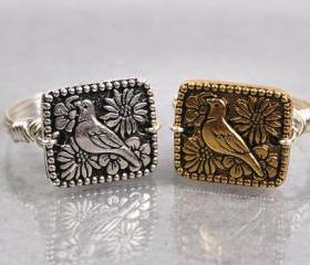 Sterling Silver Wire Wrapped Ring with Your Choice of Silver Or Gold Bird Bead- Custom Made to Size