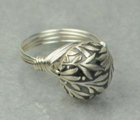 Sterling Silver Wire Wrapped Ring- Leaves Bead - Custom Made to Size