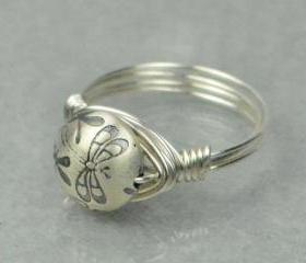 Sterling Silver Wire Wrapped Ring- Dragonfly Bead - Custom Made to Size