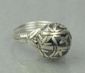 Wire Wrapped Sterling Silver Ring with Bamboo Bead - Custom Made to Size