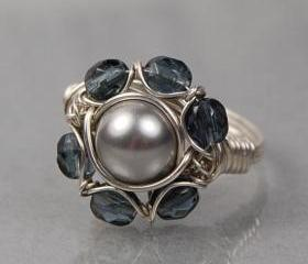 Sterling Silver Wire Wrapped Ring- Light Grey Swarovski Pearl and Grey Faceted Glass- Custom Made to Size