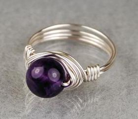Sterling Silver Wire Wrapped Ring with Round Amethyst Gemstone- Custom Made to Size