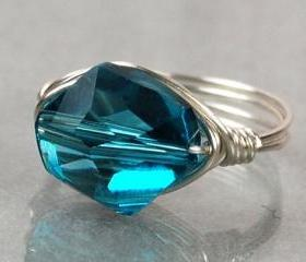 Wire Wrapped Sterling Silver Ring with Indicolite Swarovski Crystal- Custom Made to Size