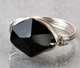 Sterling Silver Wire Wrapped Ring with Black Swarovski Crystal- Custom Made to Size