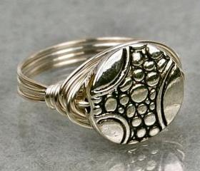 Wire Wrapped Sterling Silver Ring with Pewter Pebble Bead- Custom Made to Size