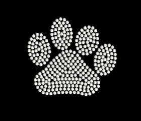 Rhinestone Paw Print Iron On Transfer 14826