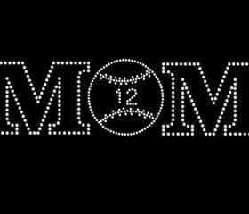 Rhinestone Transfer Mom Baseball with Personalized Jersey Number 34039