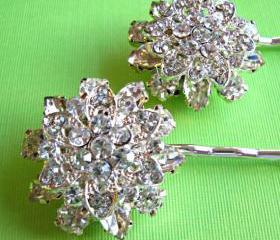 "Weddings Hair Pins, Bridal Accessories, Crystal Hair pins, Flower Hair accessories,""Floral Ice"" Collection"