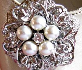 Weddings, Shoe Clips, Ivory Pearl and Crystal, Filigree Flower