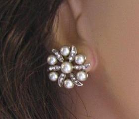 Wedding Earrings, Pearl and Crstal Post Earrings,Vintage Style Bridal Jewelry