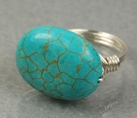 Large Turquoise Sterling Silver Wire Wrapped Ring- Oval Gemstone- Custom Made to Size