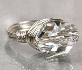 Sterling Silver Wire Wrapped Ring with Clear Swarovski Crystal- Custom Made to Size