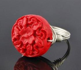 Sterling Silver Wire Wrapped Ring with Red Carved Floral Cinnabar- Custom Made to Size