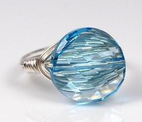 Wire Wrapped Sterling Silver Ring with Sky Blue Swarovski Crystal- Custom Made to Size